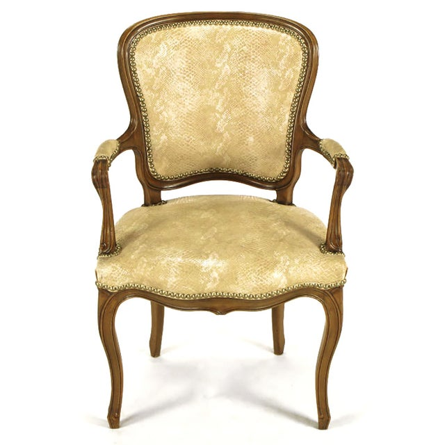 Pair of Walnut Louis XV Style Armchairs in Faux Python - Image 2 of 8