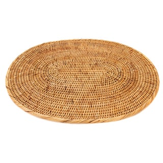 Boho Chic Artifacts Rattan Oval Placemat For Sale