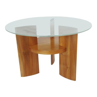 Art Deco Saint Gobain Glass-Top Etched Aviation Coffee Table For Sale