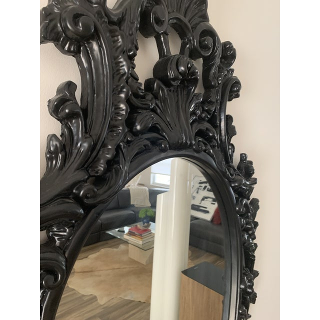 Rococo Black Lacquered Oval Mirrors - a Pair For Sale - Image 4 of 13