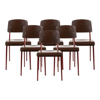Jean Prouvé Standard Sp Chairs in Teak Brown and Red for Vitra - Set of 6 For Sale