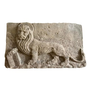 Sandstone Venetian Winged Lion of St. Mark All Plaque For Sale