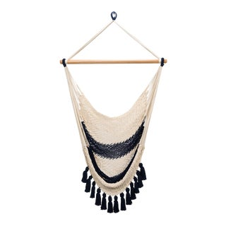Colonial Navy Blue Cotton Hammock Swing with Tassels For Sale