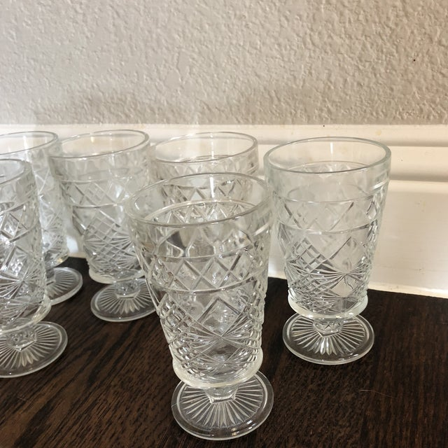 English Traditional Set of 6 - Vintage Cut Glass Water Goblets For Sale - Image 3 of 5