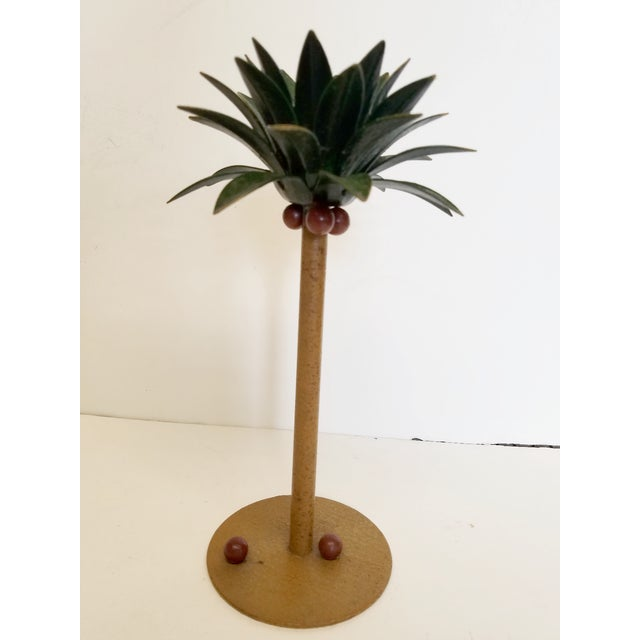 1980s Petite Choses Tole Palm Tree Candlestick For Sale - Image 5 of 5