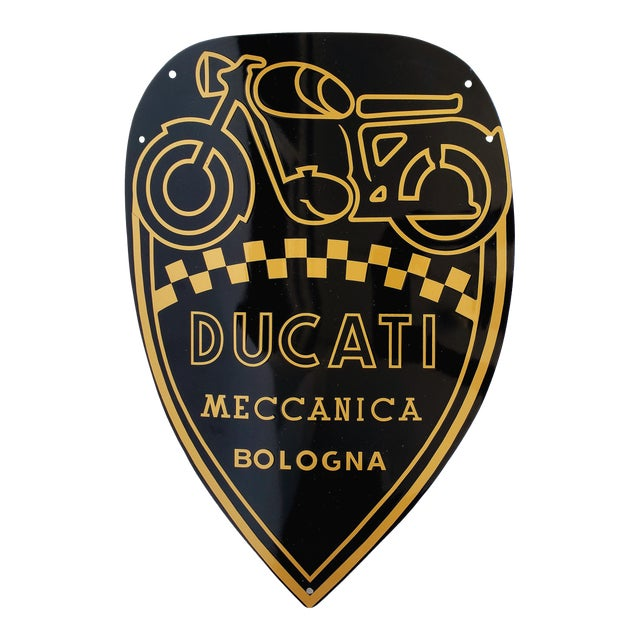 Vintage Ducati, Italy - Enamel Motorcycle Sign For Sale