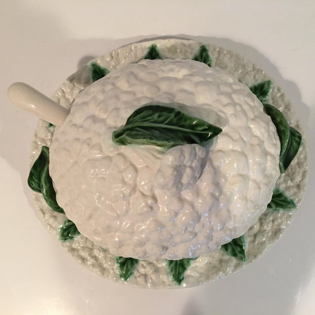 Majolica Vintage Majolica Cauliflower Tureen Made in Portugal - 4 Piece Set For Sale - Image 4 of 13