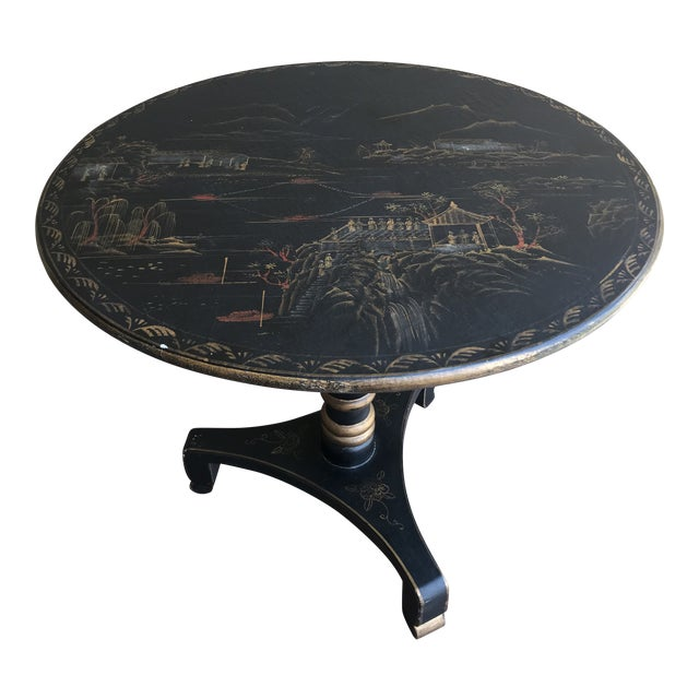 1990s Chinoiserie Painted Round Game Center Table For Sale