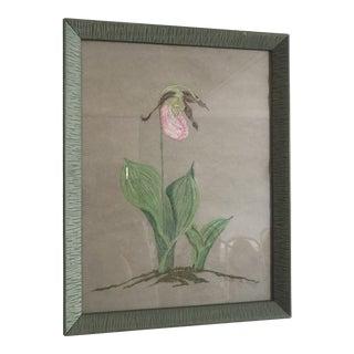 1980s Figurative Floral Pastel Art For Sale