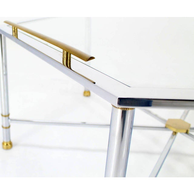 Contemporary Maison Jansen Style Chrome Brass & Glass Hexagon Coffee Table For Sale - Image 3 of 8