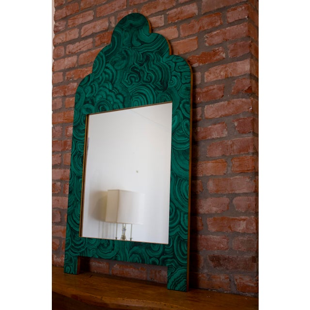 Boho Chic Green Malachite Wall Mirror For Sale - Image 3 of 13