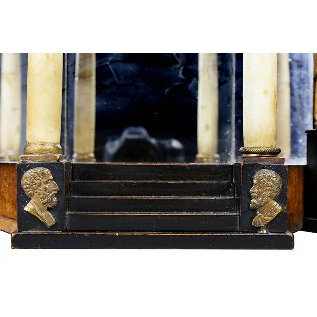 Biedermeier Fruitwood and Ebonized Mantle Clock For Sale In Boston - Image 6 of 10