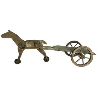French Toy Horse and Cart For Sale