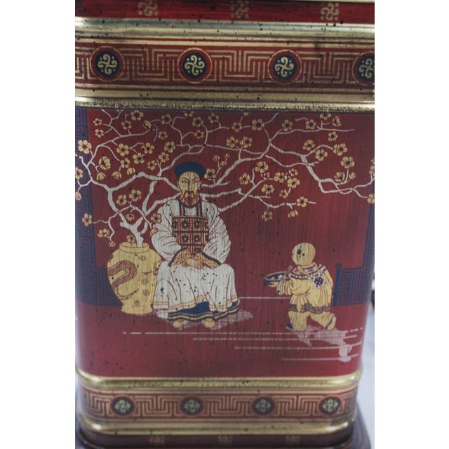 Asian 1960s Frederick Cooper Chinoiserie Tea Canister Converted Table Lamp For Sale - Image 3 of 9