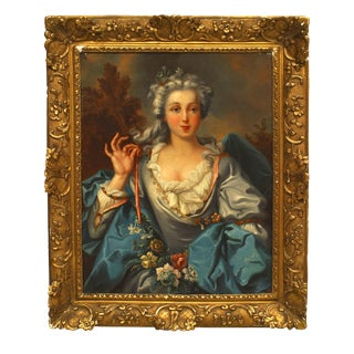 18th-19th Century French Louis XVI Young Woman Portrait Oil Painting For Sale