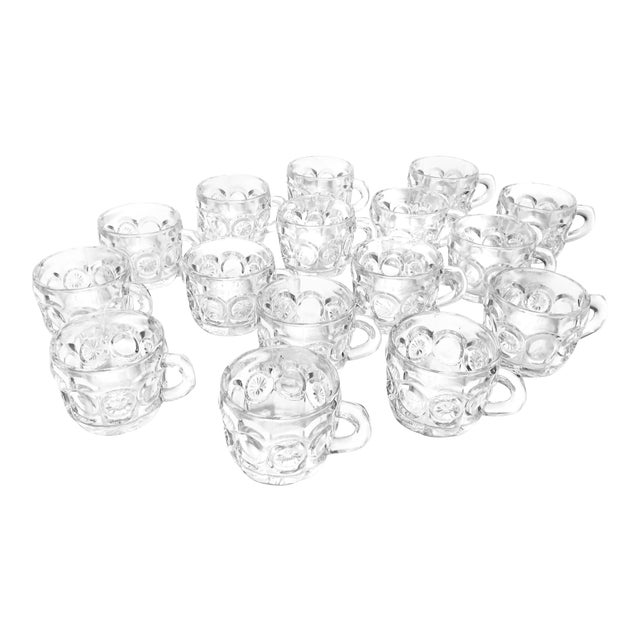 Vintage Mid Century 16 Piece Set of Tiffin-Franciscan Pressed Glass Tea Cups / Punch Cups For Sale