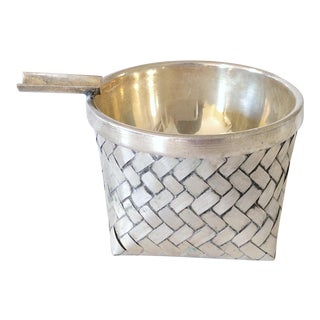 Silver Ashtray in Basket For Sale
