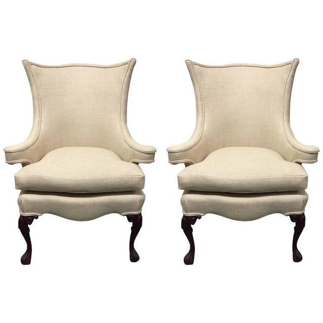 Pair of Queen Anne Style Wingback Chairs For Sale In New York - Image 6 of 6