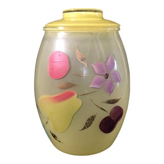 Vintage Depression Era Hand Painted Glass Cookie Jar