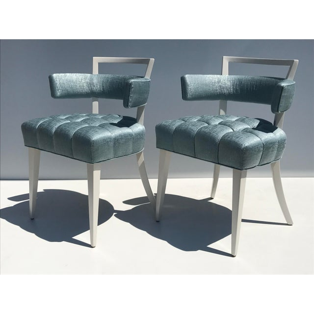 Set of Four Billy Haines Biscuit Tufted Side / Dining Chairs - Image 4 of 11