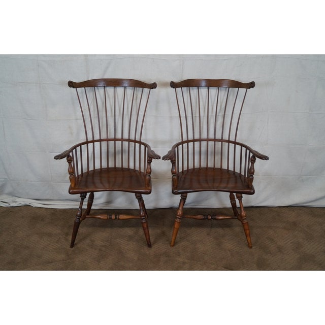 Custom Fan Back Windsor Arm Chairs - A Pair - Image 2 of 10