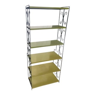 1960's Mid-Century Iron + Metal Shelving Unit For Sale