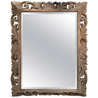 Bleached French Carved Wood Beveled Mirror, 19th Century For Sale