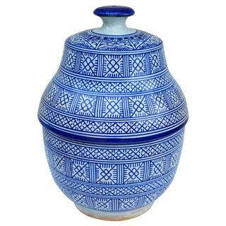 Moroccan Blue Ceramic Jar For Sale