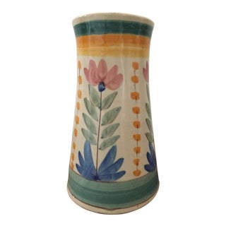 Vintage Hand Painted Vase, Signed Portuguese Pottery For Sale