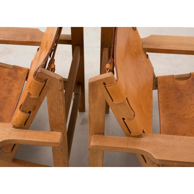 1960s Pair of Kurt Ostervig Hunting Chairs in Oak and Leather, Denmark 1960s For Sale - Image 5 of 11