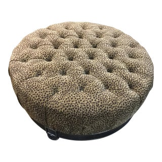 Round Tufted Ottoman in Animal Print Upholstery For Sale