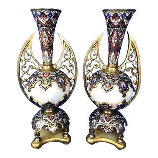 Antique Enamel Champleve Vase / Urns - a Pair