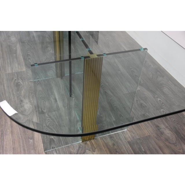1970s Pace Collection Glass and Brass Modern Dining Table For Sale - Image 5 of 9