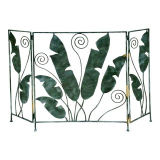 Vintage Cast Iron Palm Leaf Fireplace Screen For Sale