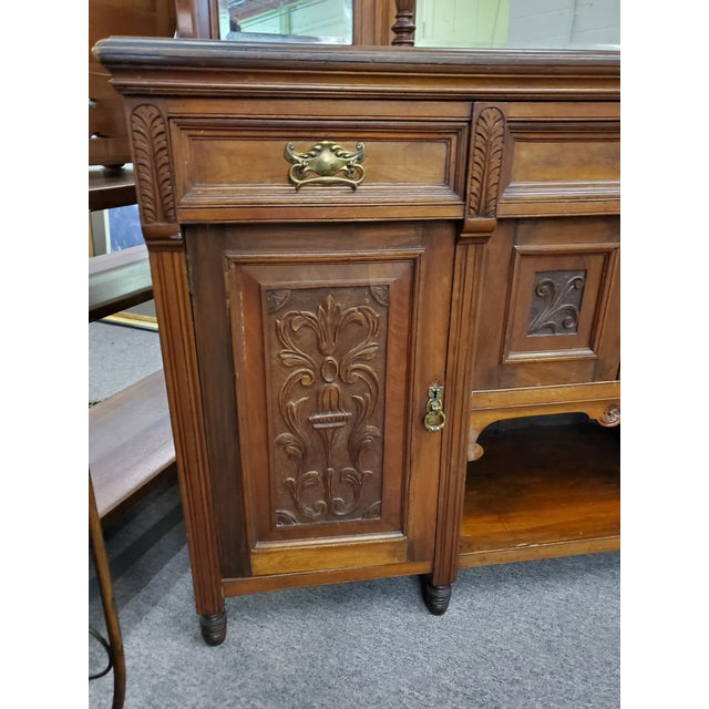 Traditional Early 20th Century Antique Hutch With Beveled Mirrors For Sale - Image 3 of 12