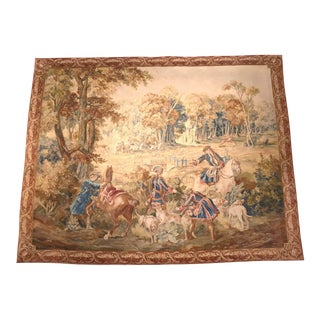 Late 18th-Early 19th Century Handwoven Hunt Tapestry From Brussels For Sale