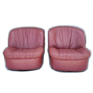 Vintage Leather Hollywood Regency Swivel Rockers Chairs- a Pair Preview