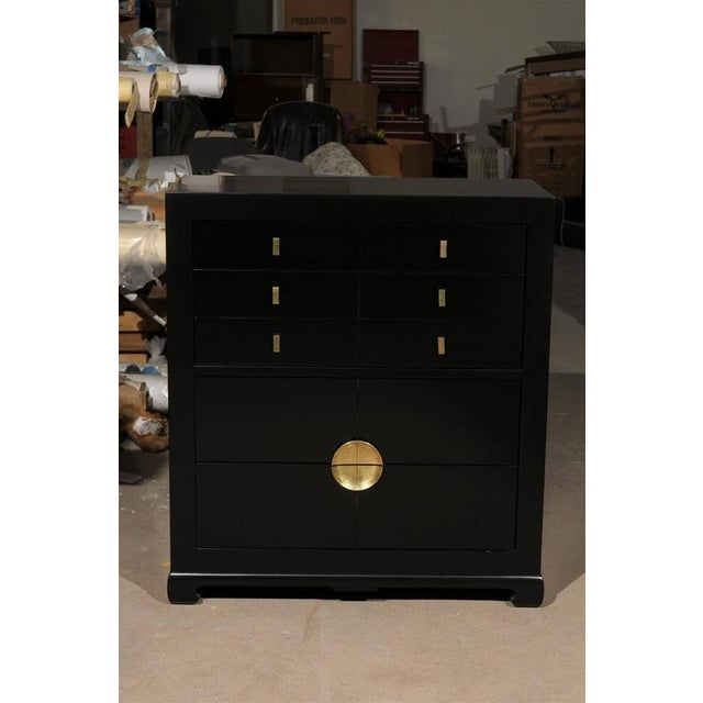 Restored Modern Mahogany Commode by Albert of Shelbyville in Black Lacquer For Sale - Image 9 of 10