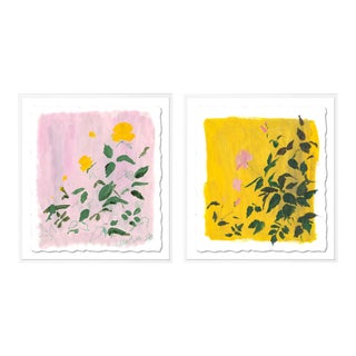 Botanical Diptych by Lia Burke Libaire in White Frame, Small Art Print For Sale