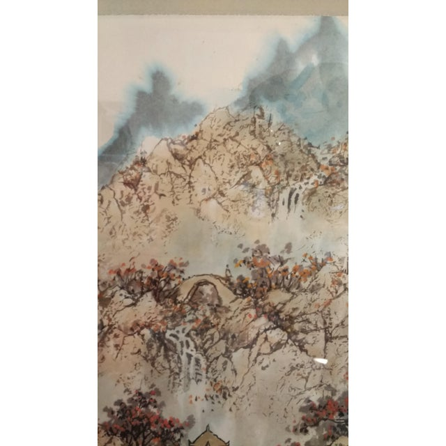 Vintage Framed Asian Watercolor Painting - Image 3 of 5
