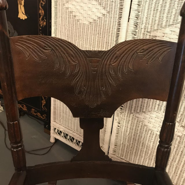 Textile Antique Wooden Rocking Chair with Reupholstered Seat For Sale -  Image 7 of 8 - Antique Wooden Rocking Chair With Reupholstered Seat Chairish