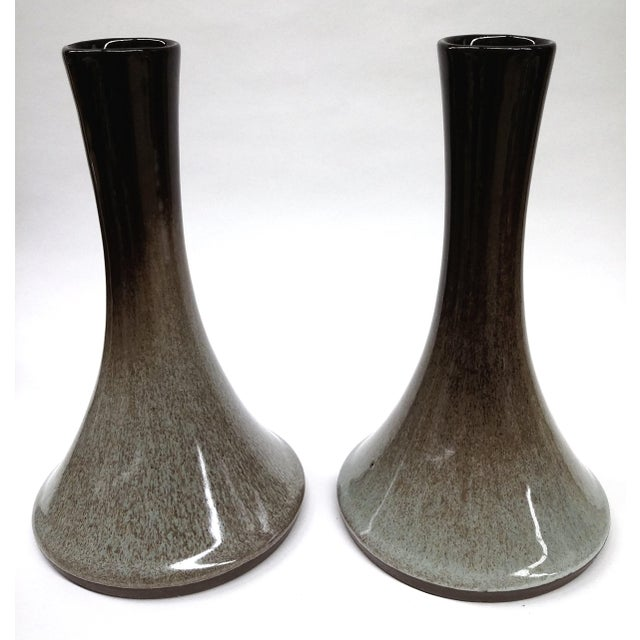 Artisan Mottled Ceramic Vases- A Pair For Sale - Image 10 of 11