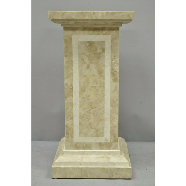 """Tessellated Stone 29"""" Column Pedestal by Marquis Collection of Beverly Hills. Item features inlaid tessellated stone,..."""