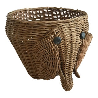20th Century Boho Chic Elephant Shaped Planter Basket For Sale