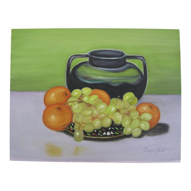 Vintage Still Life Painting of Fruit For Sale