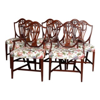 Vintage English Mahogany Shield Back Dining Chairs, circa 1930 - Set of 8 For Sale
