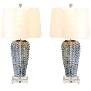 Fabulous Pair of Textured Portuguese Ceramic Vessels as Custom Lamps