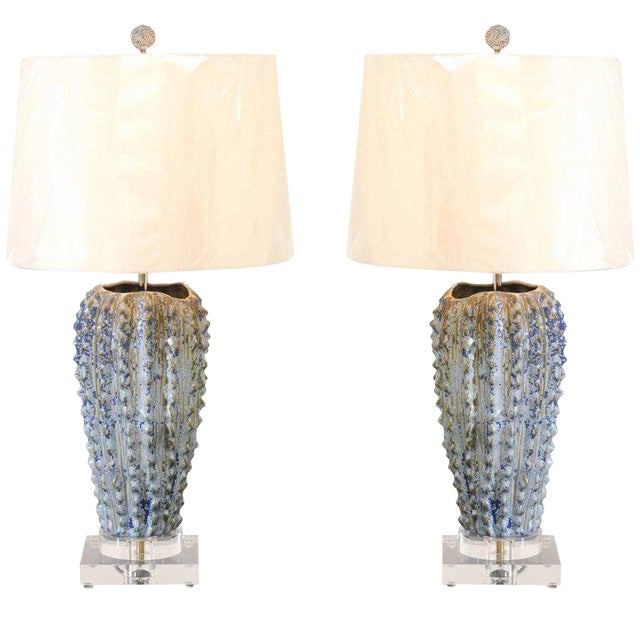 Fabulous Pair of Textured Portuguese Ceramic Vessels as Custom Lamps For Sale