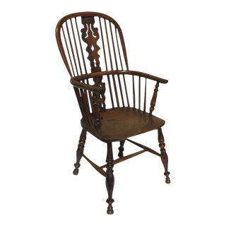 English 19th Century Yew Wood Windsor Chair Tall Back For Sale