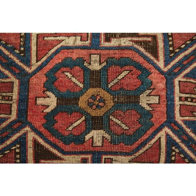 Feather Antique Kazak Carpet Pillow For Sale - Image 7 of 8